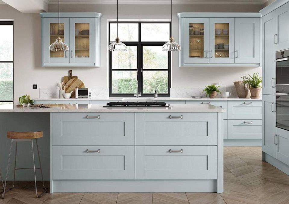 """<p>A fresh take for a kitchen. Whilst deep blues and forest greens are a popular choice, a bright sky blue shade lends itself to an airy environment and works especially well with clean white surfaces and natural wood flooring. </p><p>Pictured: <a href=""""https://www.homebase.co.uk/kitchens/kitchen-ranges/whitstable.list"""" rel=""""nofollow noopener"""" target=""""_blank"""" data-ylk=""""slk:Country Living Whitstable Kitchen at Homebase"""" class=""""link rapid-noclick-resp"""">Country Living Whitstable Kitchen at Homebase</a></p>"""