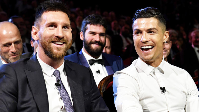 Barcelona's Lionel Messi (pictured left) and Juventus' Cristiano Ronaldo (pictured right) sharing a laugh.