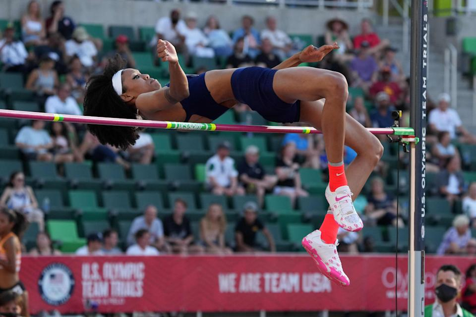 Vashti Cunningham wins the women's high jump at 6-5 (1.96m) during the US Olympic Team Trials at Hayward Field.