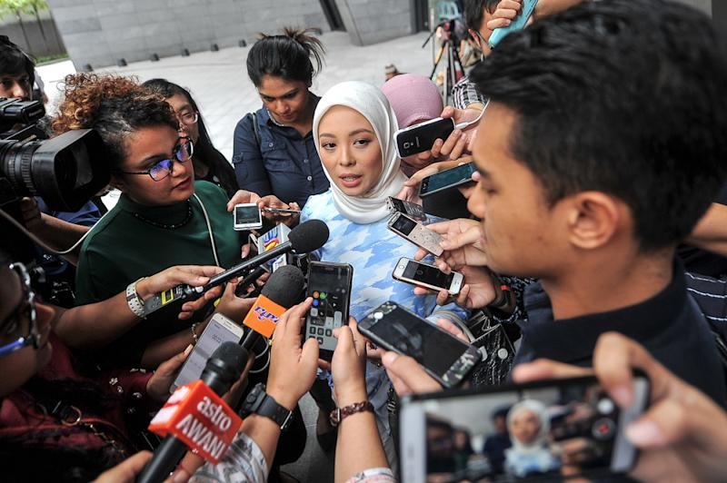 Founder of FashionValet and Muslim lifestyle brand dUCK, Datin Vivy Sofinas Yusof, speaks to reporters at Ilham Tower in Kuala Lumpur June 18, 2018. — Picture by Shafwan Zaidon