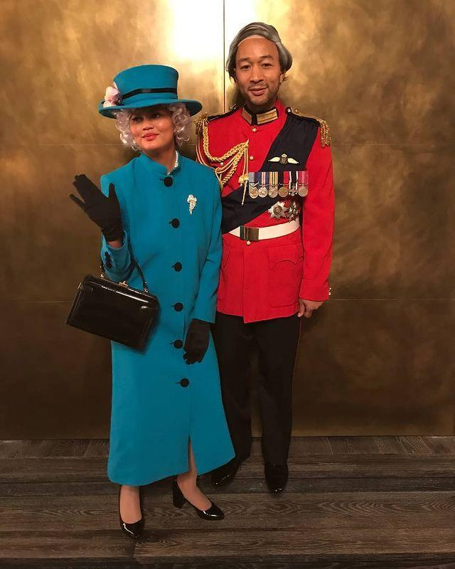 """<p>Where pop royalty meets, well, actual royalty: Teigen spent Halloween 2019 embodying Queen Elizabeth !! while Legend took on the role of the Duke of Edinburgh. </p><p><a href=""""https://www.instagram.com/p/BpoGoyVF5zh/"""" rel=""""nofollow noopener"""" target=""""_blank"""" data-ylk=""""slk:See the original post on Instagram"""" class=""""link rapid-noclick-resp"""">See the original post on Instagram</a></p>"""