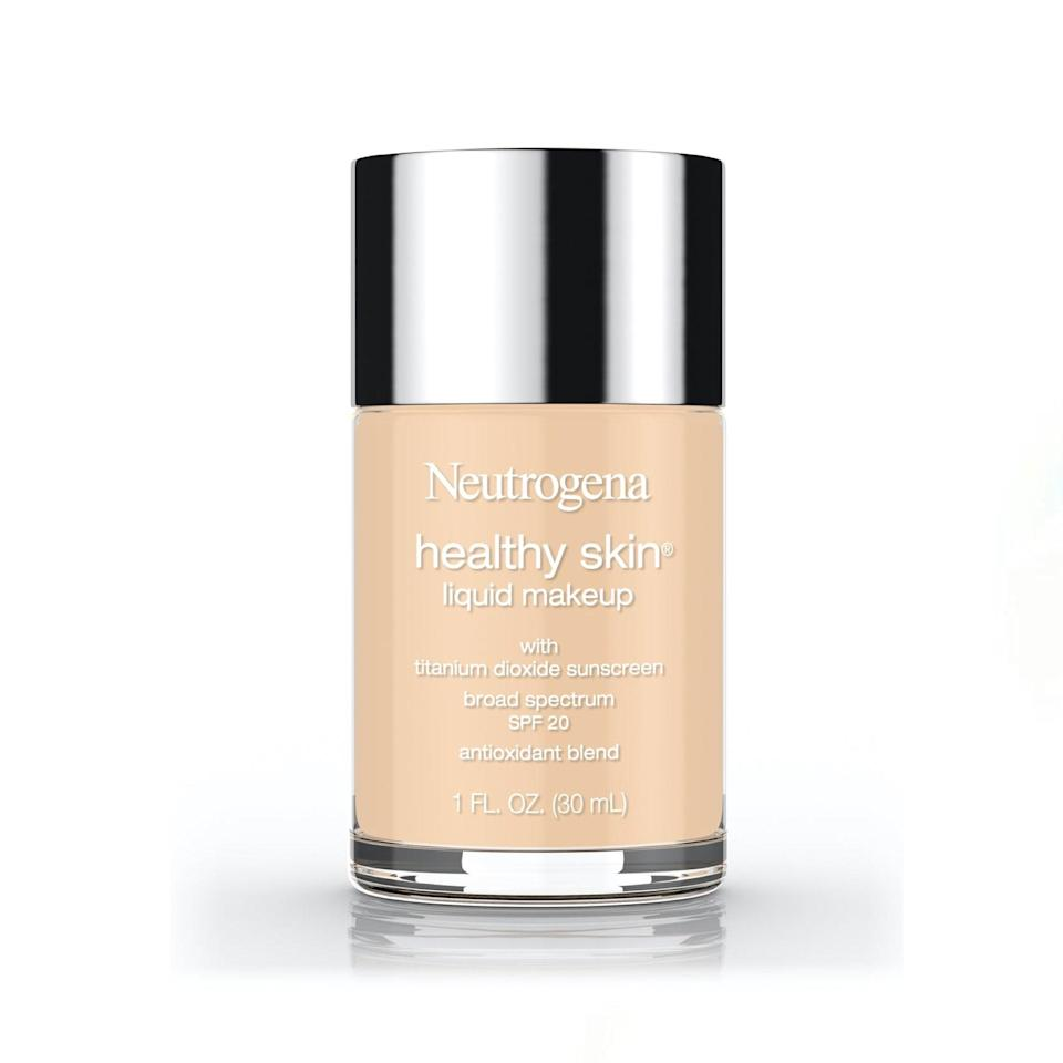 """This is full coverage, quite glow-y, and never-cakey, and I have been loyal to it for years. I owe this foundation a lot of awkward conversations to the tune of, """"Your skin looks so good!"""" """"Hahaha it's NOT I'm just wearing foundation!"""" It comes in a nice glass bottle and lasts a <em>long</em> time. —<em>Jenny Singer, staff writer</em> $14, Neutrogena. <a href=""""https://www.target.com/p/neutrogena-healthy-skin-liquid-makeup-broad-spectrum-spf-20-85-honey-1-fl-oz/-/A-49105228"""" rel=""""nofollow noopener"""" target=""""_blank"""" data-ylk=""""slk:Get it now!"""" class=""""link rapid-noclick-resp"""">Get it now!</a>"""