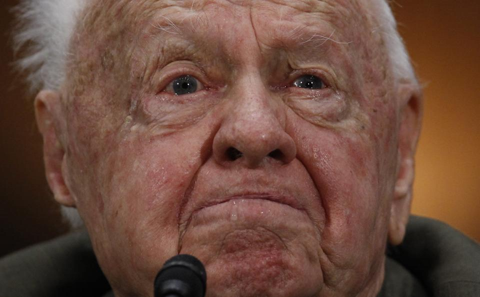 Actor Mickey Rooney speaks at a Senate hearing on elder abuse, neglect and financial exploitation on Capitol Hill in Washington in this March 2, 2011 file photo. Rooney, the pint-sized screen dynamo of the 1930s and 1940s best known for his boy-next-door role in the Andy Hardy movies, died on April 6, 2014 at 93, the TMZ celebrity website reported. It did not give a cause of death and a spokesman was not immediately available for comment. REUTERS/Jim Young/Files (UNITED STATES - Tags: ENTERTAINMENT PROFILE OBITUARY)