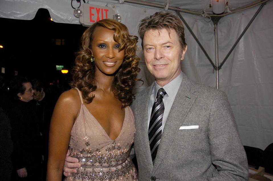 UNITED STATES - OCTOBER 30:  Iman and husband David Bowie arrive at Carnegie Hall where she was honored during Glamour magazine's 17th annual Women of the Year awards.  (Photo by Richard Corkery/NY Daily News Archive via Getty Images)
