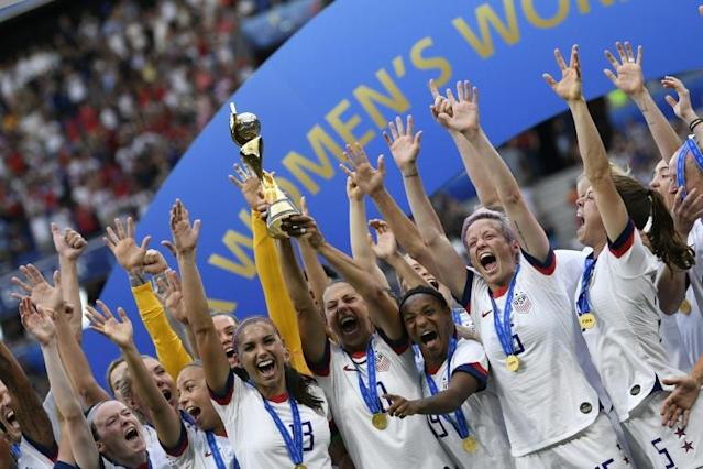 The World Cup-winning US women's team will be honoured with a parade along New York's 'Canyon of Heroes' (AFP Photo/CHRISTOPHE SIMON)