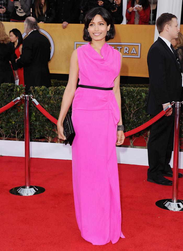 Frieda Pinto looked pretty in pink at the SAG Awards red carpet in this Roland Mouret dress.