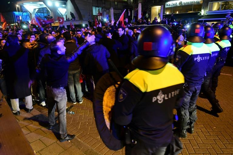 Dutch police clashed with Turkish supporters in Rotterdam, on March 12, 2017