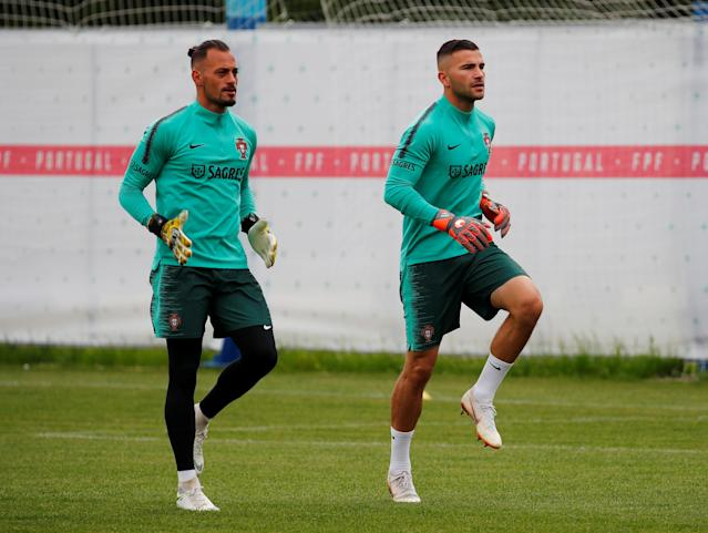 Soccer Football - World Cup - Portugal Training - Portugal Training Camp, Moscow, Russia - June 21, 2018 Portugal's Beto and Anthony Lopes during training REUTERS/Axel Schmidt