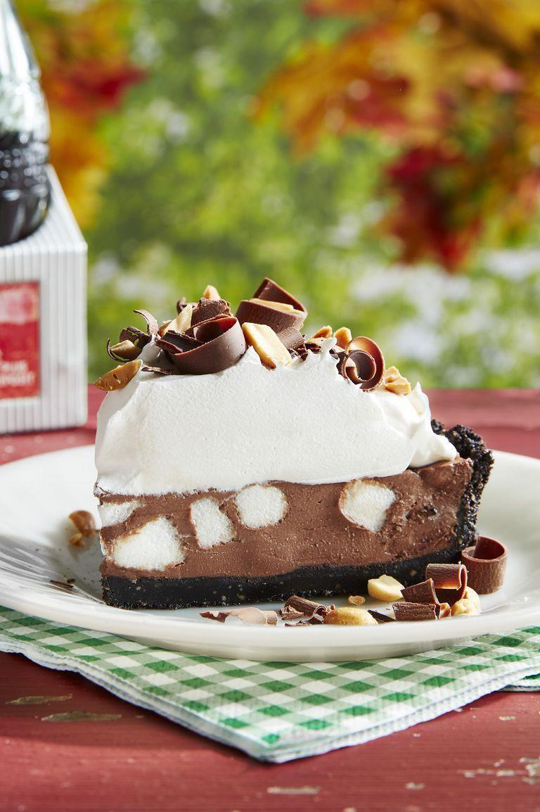 """<p>You'll scream for this ice cream-inspired pie filled with chocolate, peanuts, and marshmallows.</p><p><strong><a href=""""https://www.countryliving.com/food-drinks/a24281015/rocky-road-pie-recipe/"""" rel=""""nofollow noopener"""" target=""""_blank"""" data-ylk=""""slk:Get the recipe"""" class=""""link rapid-noclick-resp"""">Get the recipe</a>.</strong> </p>"""