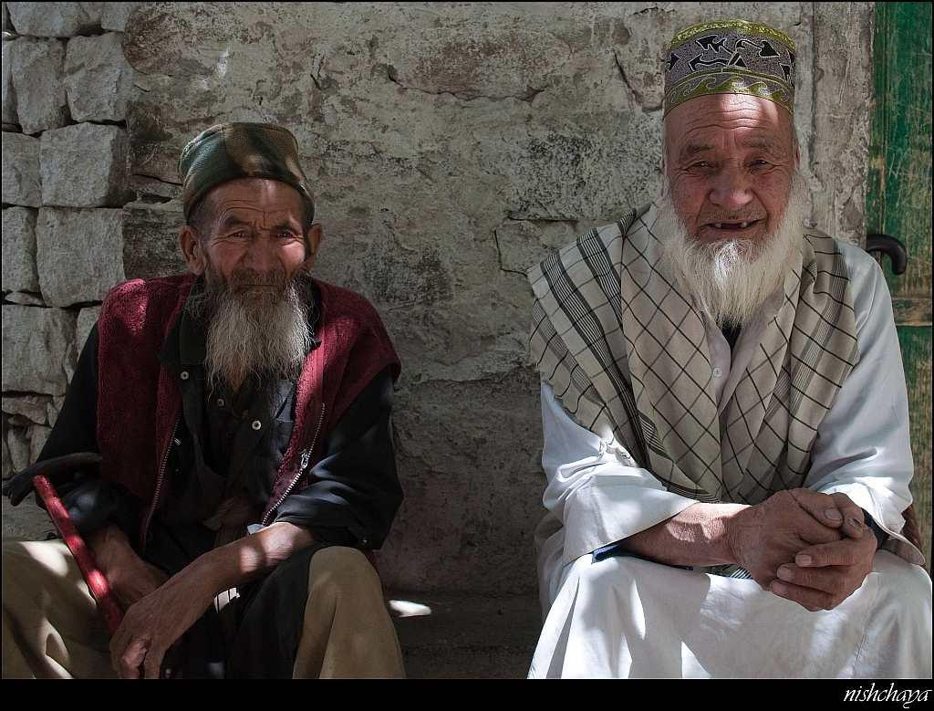 Village elders outside the mosque in Turtuk.