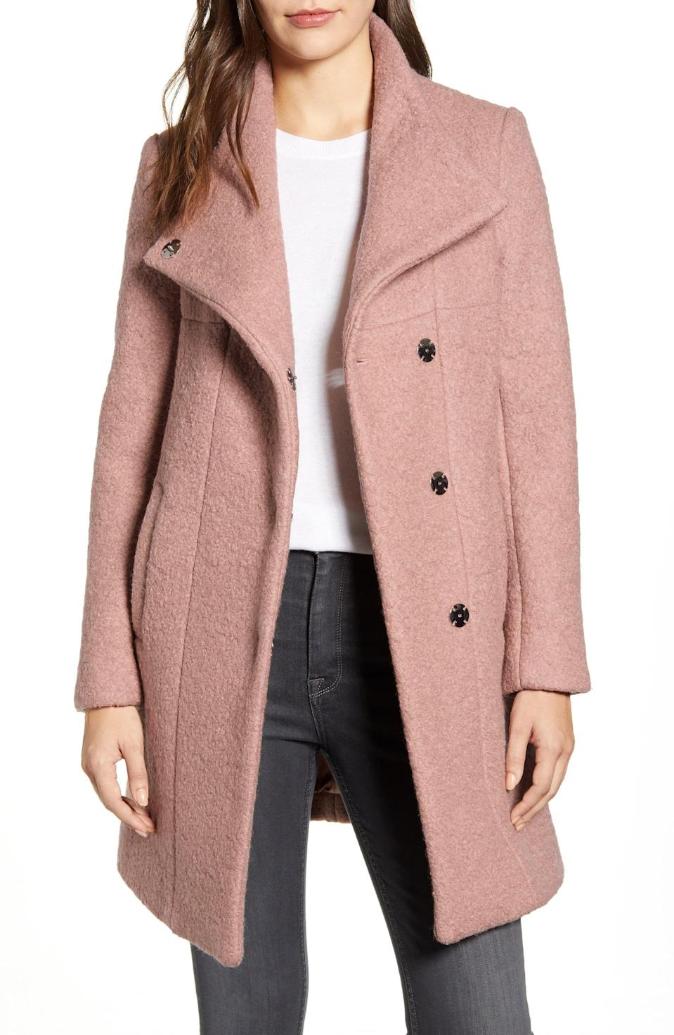 <p>If you love dusty pink, I suggest getting this <span>Kenneth Cole Wool Blend Bouclé Coat</span> ($90, originally $228).</p>