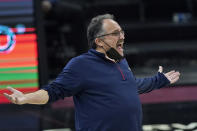 FILE - New Orleans Pelicans head coach Stan Van Gundy reacts in the second half of an NBA basketball game against the Cleveland Cavaliers in Cleveland, in this Sunday, April 11, 2021, file photo. Stan Van Gundy is out as Pelicans coach following just one season at the helm, a person familiar with the situation said. The person spoke to The Associated Press on condition of anonymity Wednesday, June 16, 2021, because the move has not been publicly announced. (AP Photo/Tony Dejak, File)