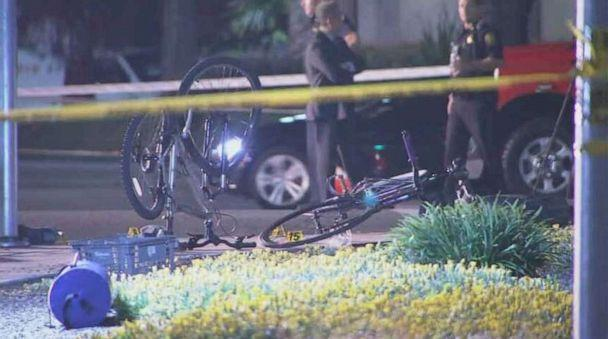 PHOTO: Bicycles lie at the scene of a car crash in Sunnyvale, Calif., where eight people were injured on Tuesday, April 23, 2019. (KGO)