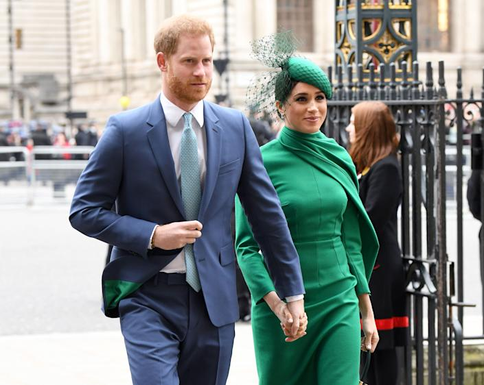 The Duke and Duchess of Sussex attend the Commonwealth Day Service on March 9 in London. (Photo: Karwai Tang via Getty Images)