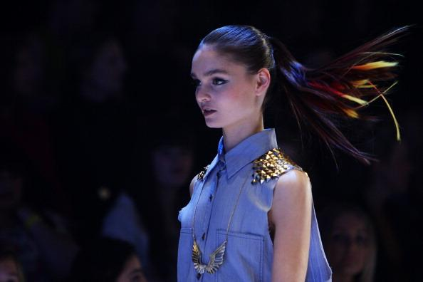 A model showcases designs by Nana Judy on the catwalk as part of Mercedes Benz Fashion Festival Sydney 2012 at Sydney Town Hall on August 25, 2012 in Sydney, Australia. (Photo by Lisa Maree Williams/Getty Images)