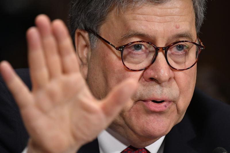 "U.S. Attorney General William Barr testifies before the Senate Judiciary Committee on ""the Justice Department's investigation of Russian Interference with the 2016 presidential election"" on Capitol Hill in Washington, D.C., on May 1, 2019. (Photo: Mandel Ngan/AFP/Getty Images)"