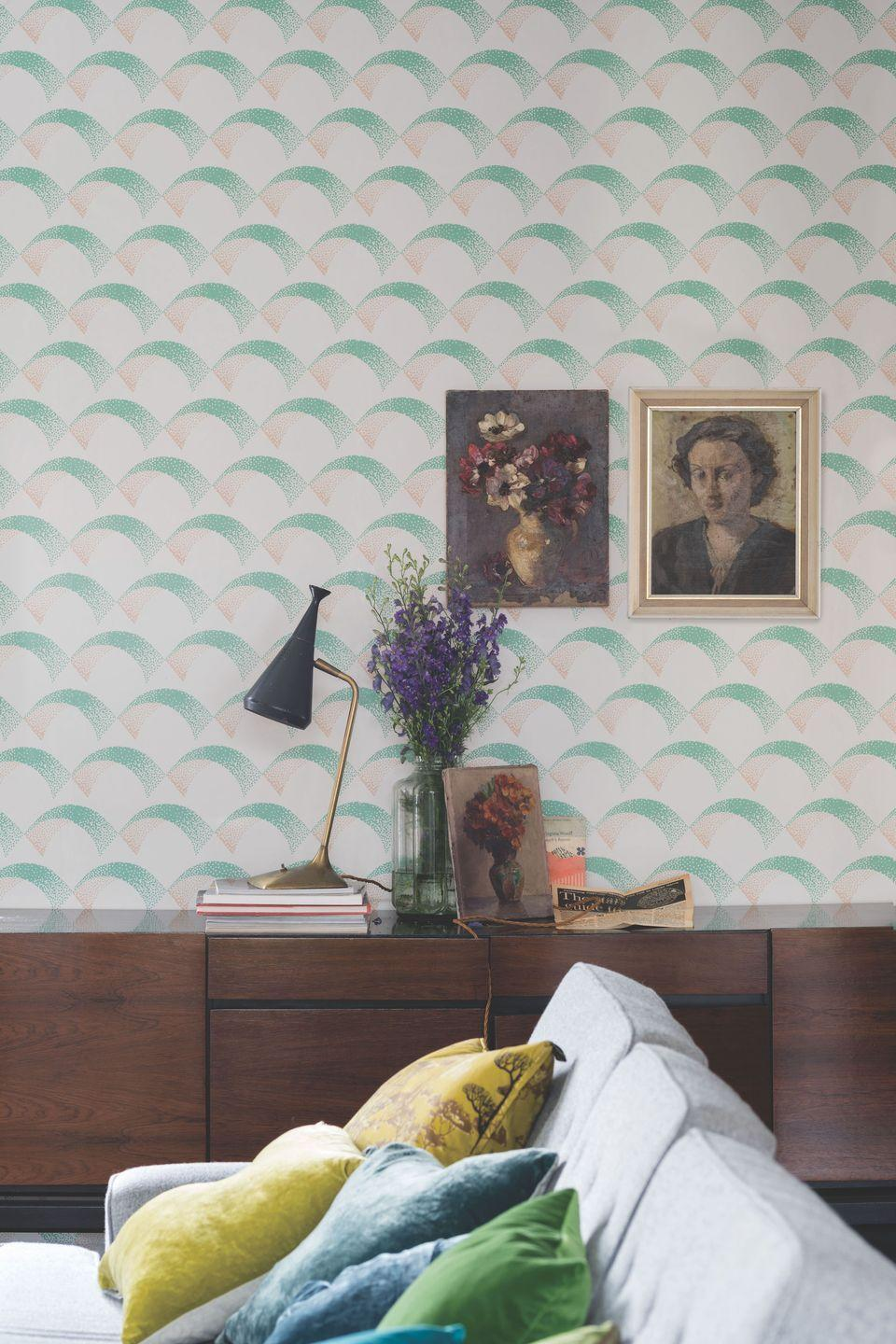 """<p>Soft and gentle, this beautifully tactile scallop design gently dances across the length of the paper, creating an inherently sophisticated feel in a living room environment.</p><p>Pictured: Arcade BP 5305, <a href=""""https://go.redirectingat.com?id=127X1599956&url=https%3A%2F%2Fwww.farrow-ball.com%2Fwallpaper%2Farcade&sref=https%3A%2F%2Fwww.housebeautiful.com%2Fuk%2Fdecorate%2Fliving-room%2Fg35838996%2Fliving-room-wallpaper-ideas%2F"""" rel=""""nofollow noopener"""" target=""""_blank"""" data-ylk=""""slk:Farrow & Ball"""" class=""""link rapid-noclick-resp"""">Farrow & Ball</a></p>"""