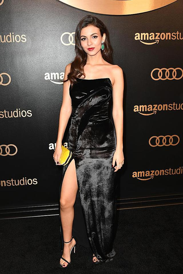 <p>Victoria Justice attends Amazon Studios' Golden Globes Celebration at the Beverly Hilton Hotel. (Photo: Earl Gibson III/Getty Images) </p>
