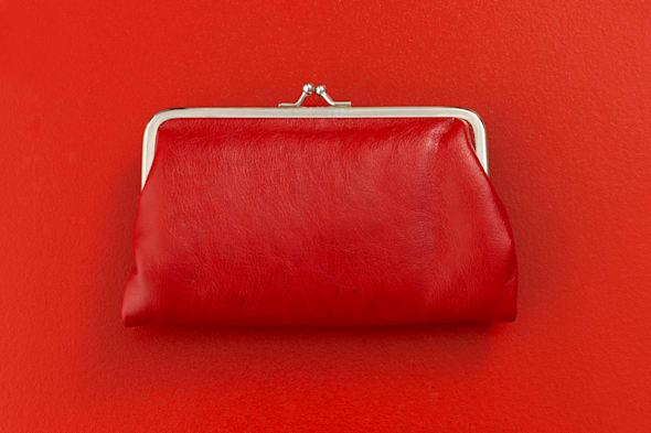 B3Y418 Red coin purse on red background Red; coin; purse; on; red; background; Red; color; background; object; thing; Purse; pur
