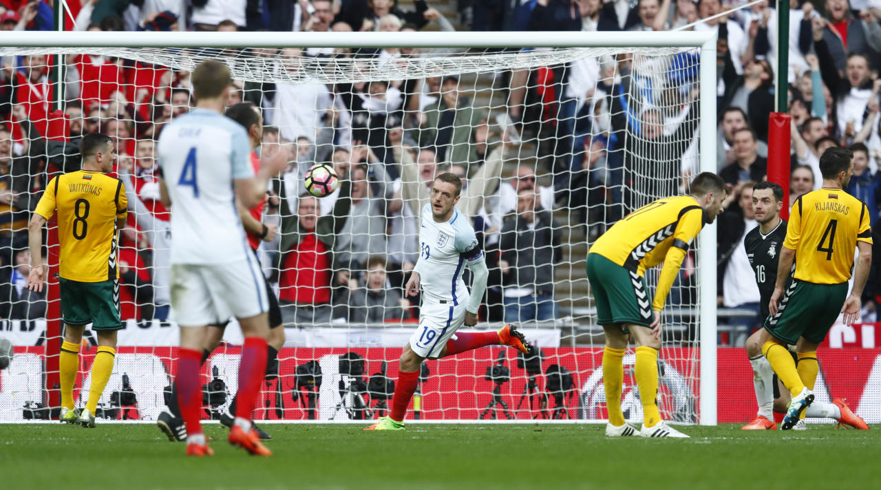 Britain Football Soccer - England v Lithuania - 2018 World Cup Qualifying European Zone - Group F - Wembley Stadium, London, England - 26/3/17 England's Jamie Vardy celebrates scoring their second goal Reuters / Eddie Keogh Livepic EDITORIAL USE ONLY.