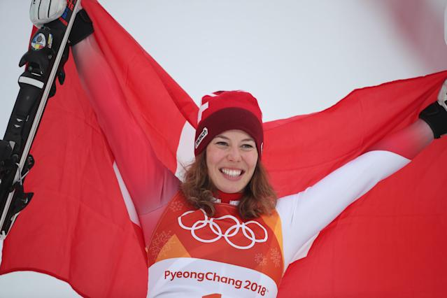 <p>Gold medal winner Michelle Gisin #1 from Switzerland during presentations after the Alpine Skiing – Ladies' Alpine Combined Slalom at Jeongseon Alpine Centre on February 22, 2018 in PyeongChang, South Korea. (Photo by Tim Clayton/Corbis via Getty Images) </p>