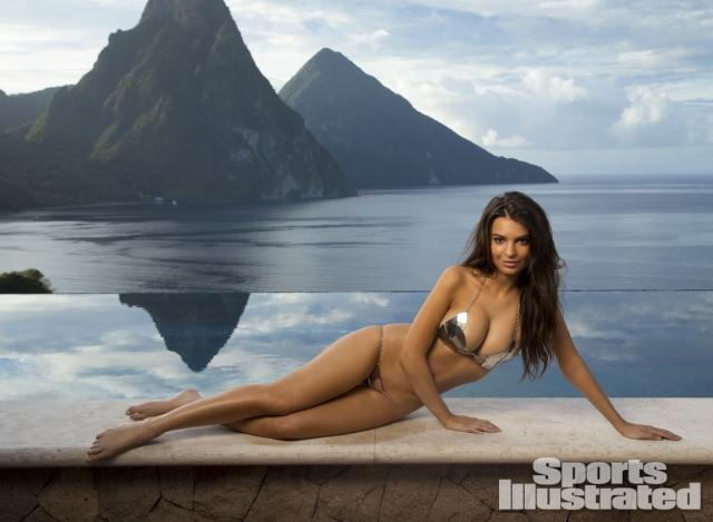 <p>Emily Ratajkowski was photographed by Walter Iooss Jr. at Caille Blanc Villa, in Soufriere, St. Lucia. Swimsuit by Elizabeth Southwood for Sauvage Swimwear.</p>