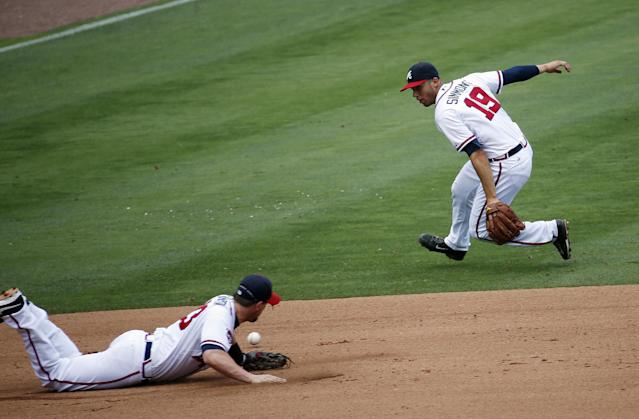 A ground ball by Seattle Mariners' Mike Zunino (3) gets past Atlanta Braves third baseman Chris Johnson (23) and shortstop Andrelton Simmons (19) for a base hit in the seventh inning of a baseball game Wednesday, June 4, 2014 in Atlanta. (AP Photo/John Bazemore)
