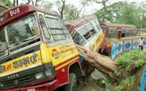 A bus damaged by a fallen tree due to Cyclone Amphan, is seen in Kolkata - REUTERS