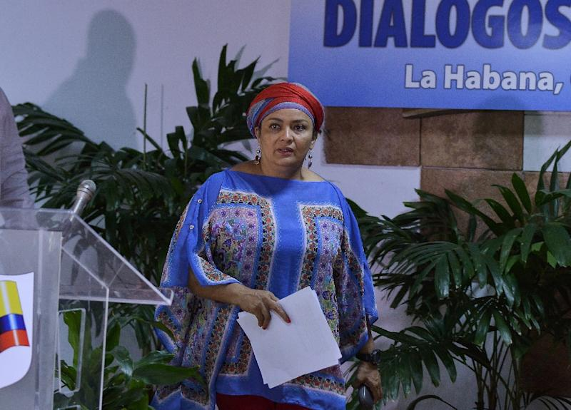 Negotiator for the Marxist rebel force, Victoria Sandino, at the Convention Palace in Havana on February 10, 2016 (AFP Photo/Yamil Lage)