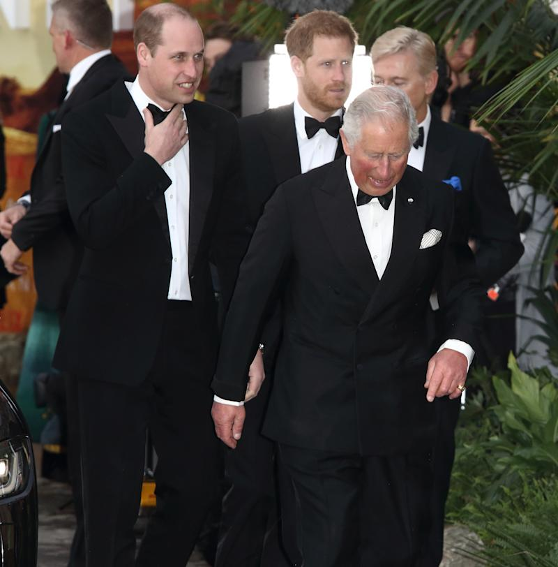 HRH Prince Charles, HRH Prince William and Prince Harry at the World Premiere of Netflix's Our Planet