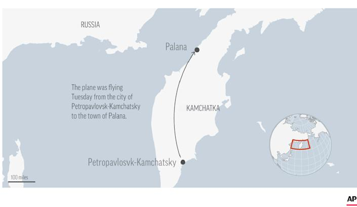 A plane with many people on board went missing in the Russian Far East region of Kamchatka on Tuesday.