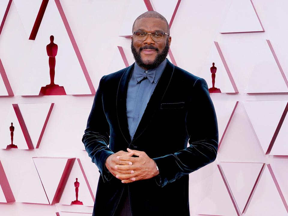 <p>Tyler Perry attends the 93rd Annual Academy Awards at Union Station on 25 April, 2021 in Los Angeles, California</p> (Chris Pizzello-Pool/Getty Images)