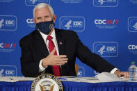 Vice President Mike Pence speaks during a briefing on COVID-19 at the Centers for Disease Control and Prevention Friday, Dec. 4, 2020, in Atlanta. (AP Photo/John Bazemore)