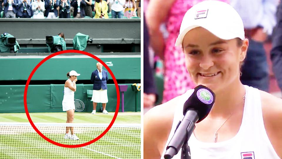 Ash Barty (pictured right) smiling during her post-match interview and (pictured right) becoming emotional on Centre Court at Wimbledon.