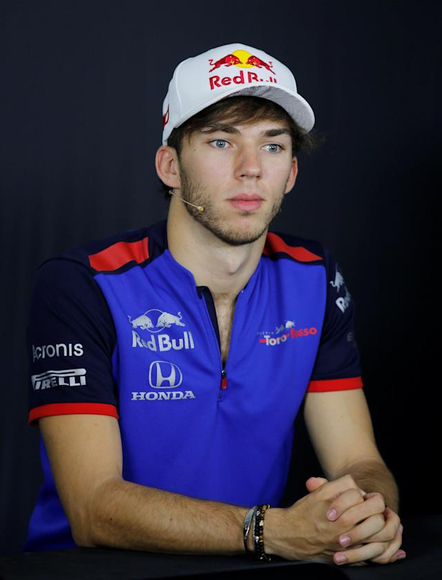 Formula One F1 - French Grand Prix - Circuit Paul Ricard, Le Castellet, France - June 21, 2018 Toro Rosso's Pierre Gasly during the press conference REUTERS/Jean-Paul Pelissier