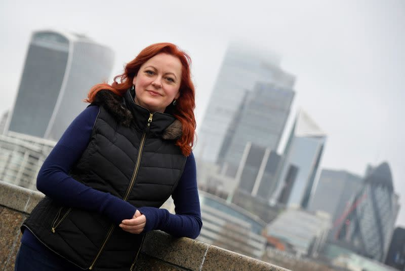 Townsend, co-founder of Futerra advertising firm, stands for a portrait with the City of London business district seen behind