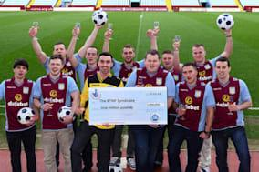 Undated handout photo issued by the National Lottery of an eleven-strong lottery syndicate who all support Aston Villa and have won £1 million on EuroMillions. PRESS ASSOCIATION Photo. Issue date: Tuesday February 4, 2014. See PA story Lottery Villa. Photo credit should read: National Lottery         /PA WireNOTE TO EDITORS: This handout photo may only be used in for editorial reporting purposes for the contemporaneous illustration of events, things or the people in the image or facts mentioned in the caption. Reuse of the picture may require further permission from the copyright holder.