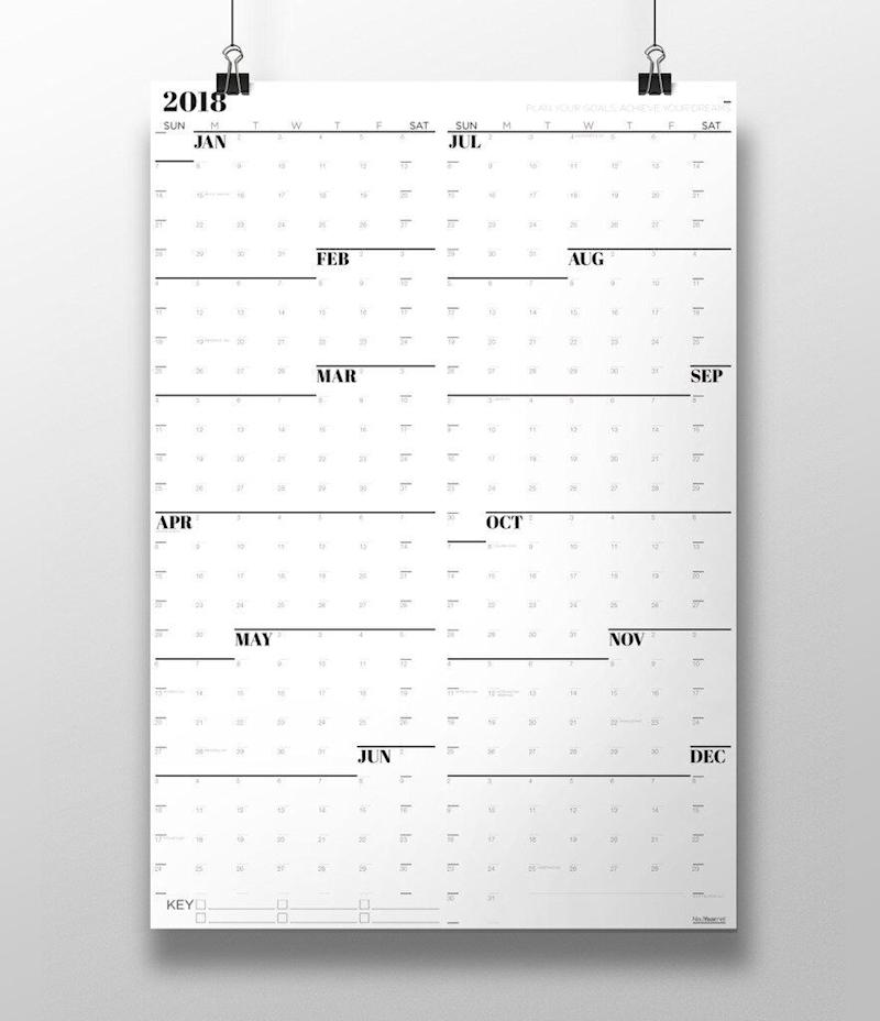 """Neu Year Large Wall Calendar 2020, $26. Available <a href=""""https://www.neuyear.net/collections/time-domination-products/products/grayscale-large-wall-calendar"""" target=""""_blank"""" rel=""""noopener noreferrer"""">at Neu Year</a>."""