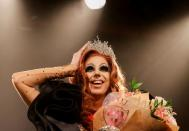 First placed drag queen Chintya Fama reacts during the 'Drag Queen Hungary 2021' beauty contest in Budapest