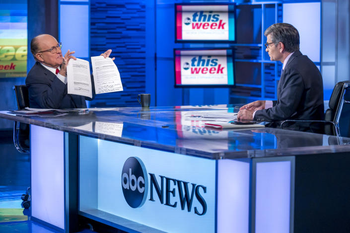 "THIS WEEK - 9/29/19 Rudy Giuliani, President Donald Trump's personal attorney, defended himself Sunday on ""This Week with George Stephanopoulos"" from accusations lodged by a former White House official that he has trafficked unfounded theories about foreign interference in the 2016 presidential election. ""This Week"" airs Sundays from 10am-11am, ET, on ABC. (Photo by Jeff Neira/Walt Disney Television via Getty Images) RUDY GIULIANI, GEORGE STEPHANOPOULOS"