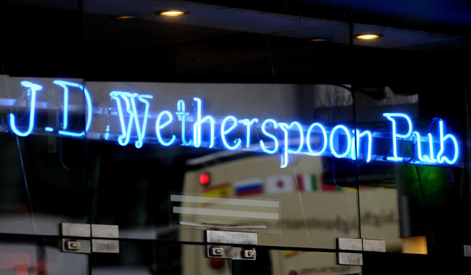 File photo dated 15/07/2015 of a JD Wetherspoon pub, as the chain will spend an initial �11 million making its 875 pubs Covid-19 secure ahead of reopening, including screens at bars and tables.