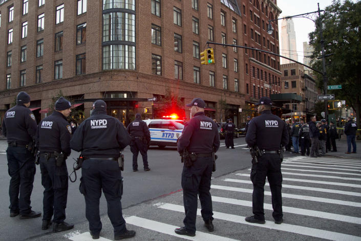 <p>Police are standing watch near Robert DeNiro's film production studio, Thursday, Oct. 25, 2018 in New York after a suspicious package was found in the actor's company mail room. (Photo: Mark Lennihan/AP) </p>