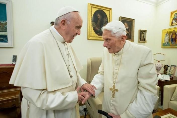 """Questions have been raised within the Catholic Church over whether there are, in fact, two """"men in white"""" at the Vatican (AFP Photo/Handout)"""