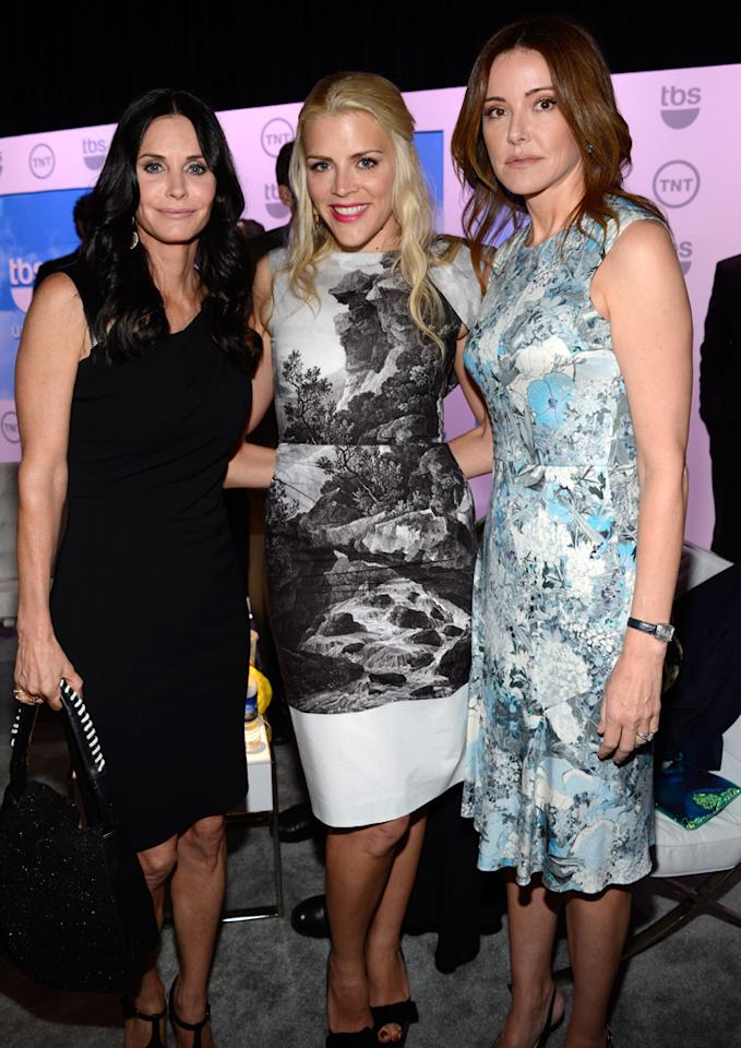 "Courtney Cox, Busy Phillips, and Christa Miller (""Cougar Town"") attend the TNT/TBS 2012 Upfront Presentation at Hammerstein Ballroom on May 16, 2012 in New York City."