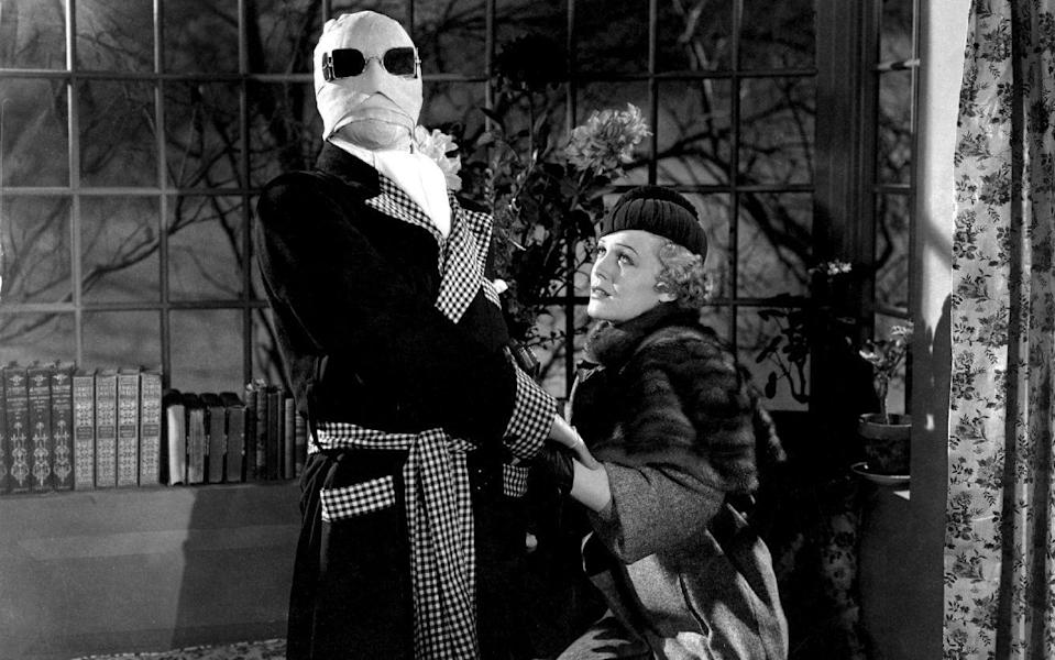 Claude Rains (left) in The Invisible Man (1933)