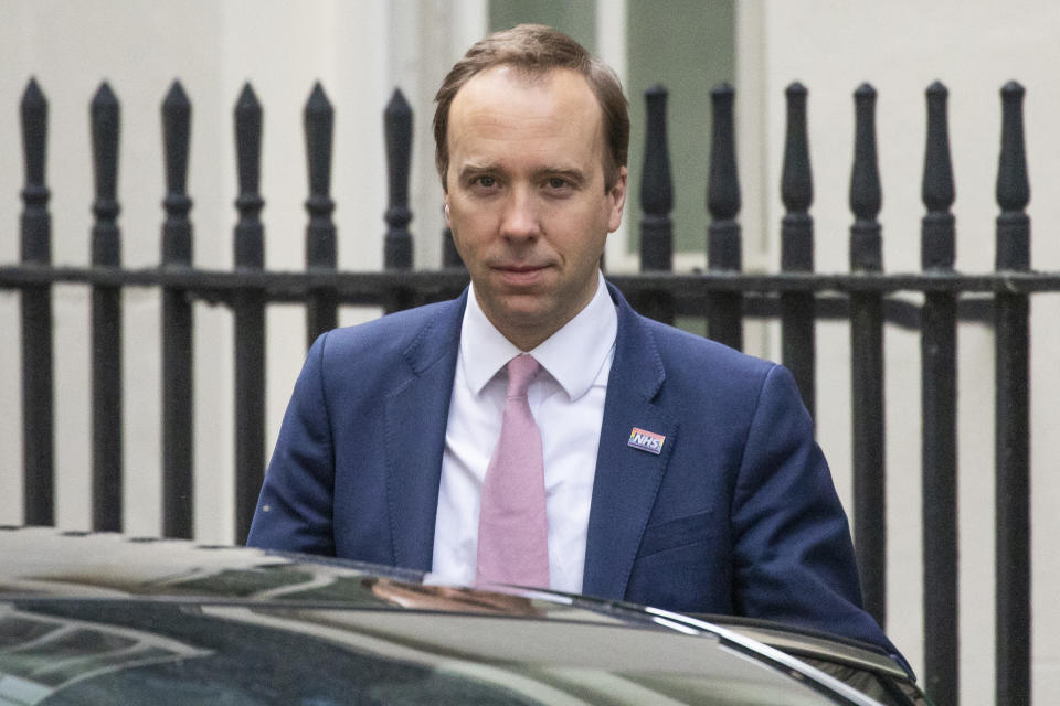 LONDON, ENGLAND  - MAY 01: Health Secretary Matt Hancock leaves 10 Downing Street after the daily press briefing on May 01, 2020 in London, England. Mr Hancock announced that the government's pledge to conduct 100,000 Covid-19 tests per day had been successful. British Prime Minister Boris Johnson, who returned to Downing Street this week after recovering from Covid-19, said the country needed to continue its lockdown measures to avoid a second spike in infections. (Photo by Dan Kitwood/Getty Images)