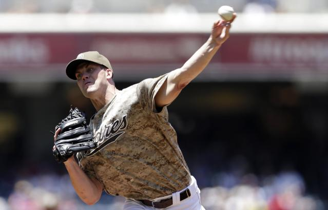San Diego Padres starting pitcher Clayton Richard throws against the Arizona Diamondbacks during the first inning in a baseball game on Sunday, June 16, 2013, in San Diego. (AP Photo/Gregory Bull)