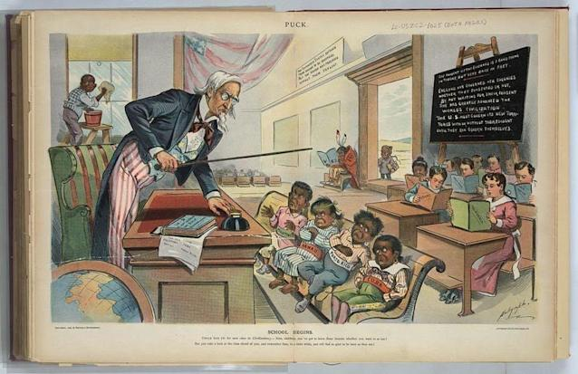 """A print from 1899, the year after theUnited States took control of Puerto Rico, shows Uncle Sam lecturing """"Cuba, Porto Rico, Hawaii, [and] Philippines."""" (Library of Congress)"""
