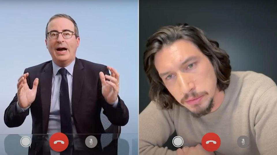 "<p>""Of course, I spent the whole year demanding that Adam Driver demolish me. Crush my larynx, you unwieldy boulder. Explode my — oh f—."" </p> <p>— John Oliver, on his extended bit about objectifying Driver's largess before the actor FaceTimed him asking him to stop, on <a href=""https://www.youtube.com/watch?v=EzlCOg-37hI"" rel=""nofollow noopener"" target=""_blank"" data-ylk=""slk:Last Week Tonight"" class=""link rapid-noclick-resp""><em>Last Week Tonight </em></a></p>"