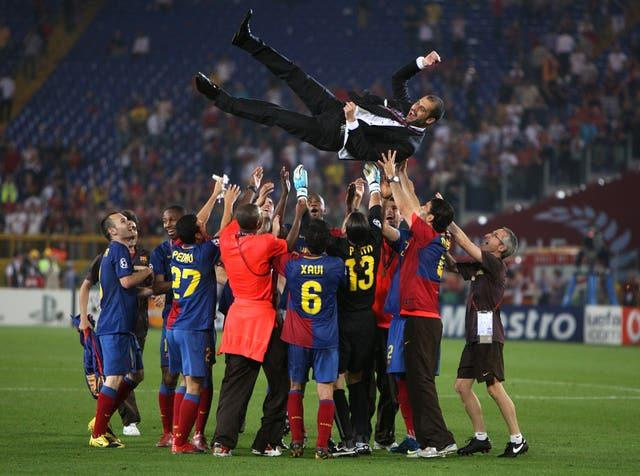 Guardiola won the treble in his first season as Barcelona manager